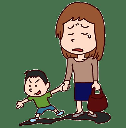 悲しんでいる母親と子供