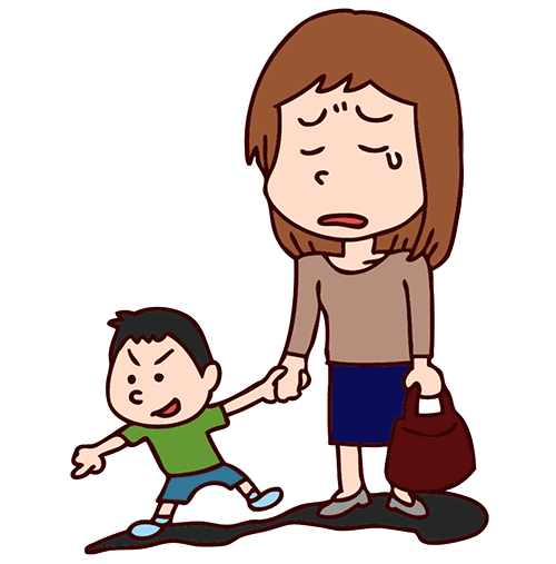 泣いている母親と子供